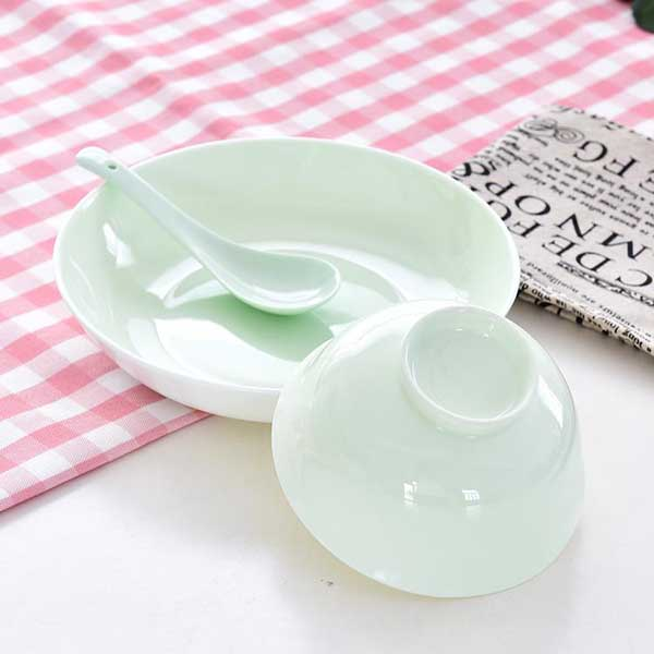 清新色釉单人陶瓷餐具批发