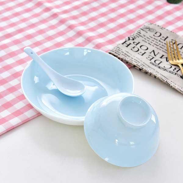 清新色釉单人陶瓷餐具定制批发