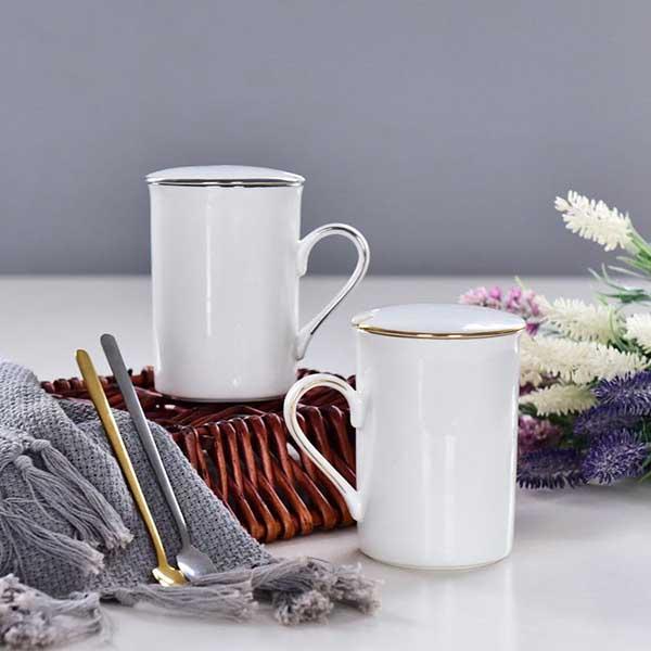 描金陶瓷盖杯定制批发