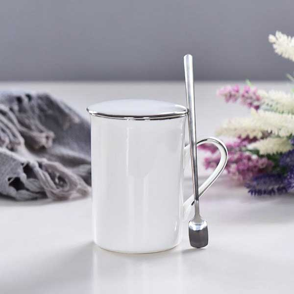 白金描边陶瓷盖杯定制