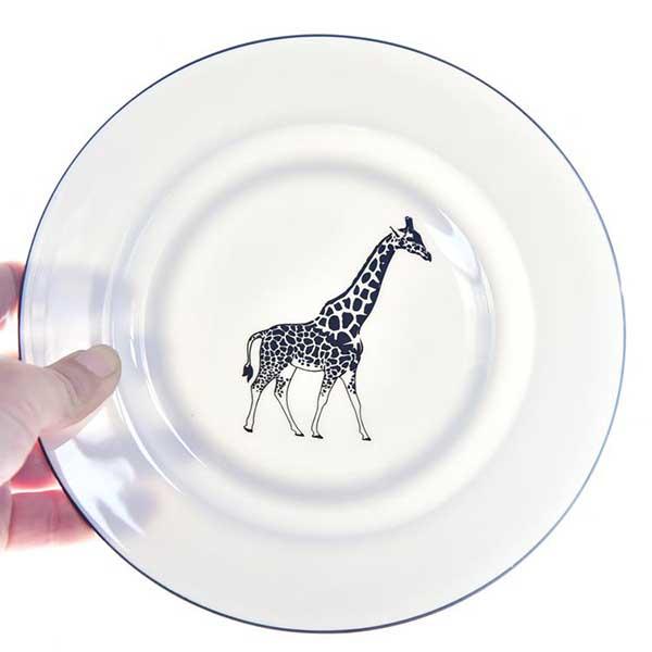 长颈鹿8寸陶瓷平盘