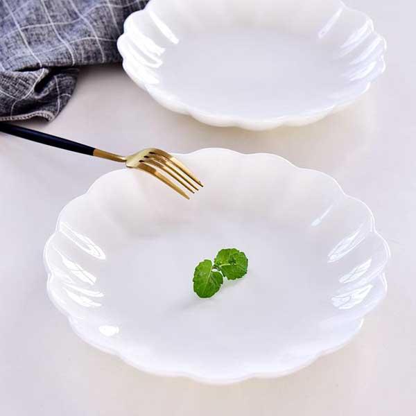 纯白8寸陶瓷花盘定制