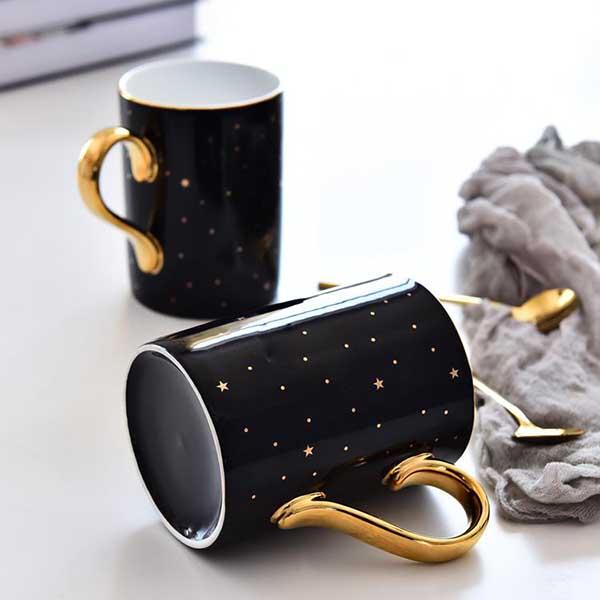 黑釉星光陶瓷奶杯