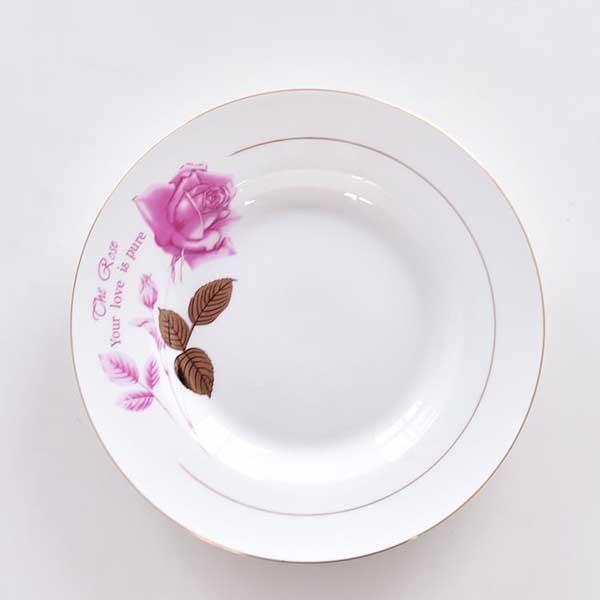 金叶玫瑰8寸陶瓷汤盘定制