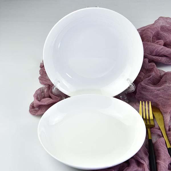 纯白8寸陶瓷饭盘