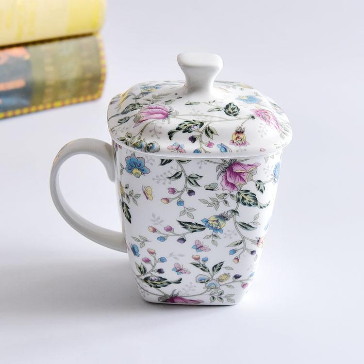骨瓷盖杯 创意陶瓷杯 大容量早餐杯