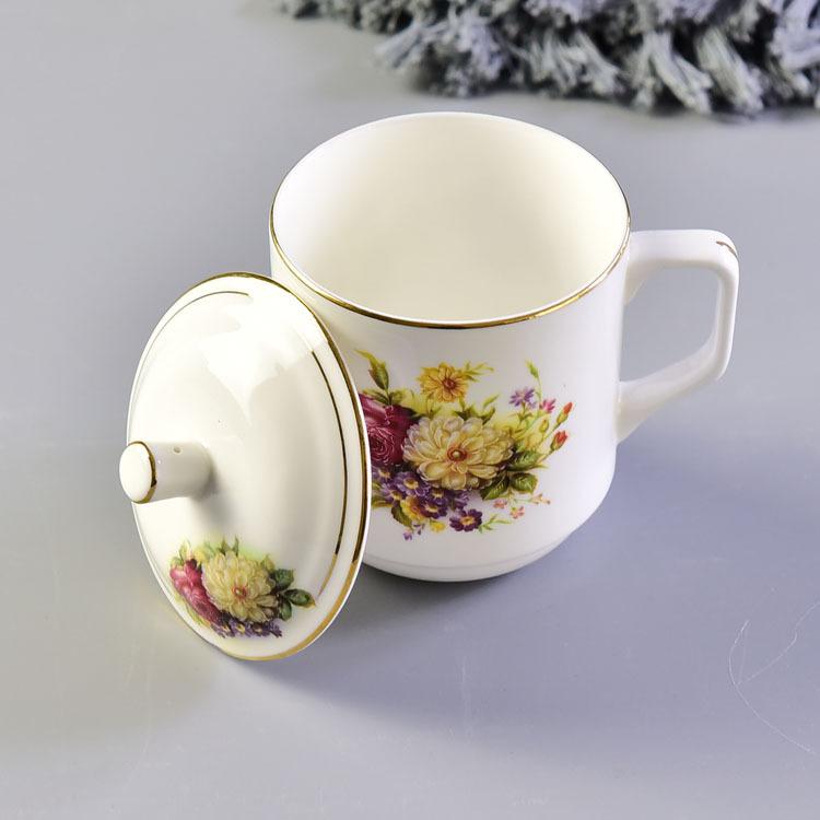 陶瓷水杯 骨瓷带盖会议杯 金边办公