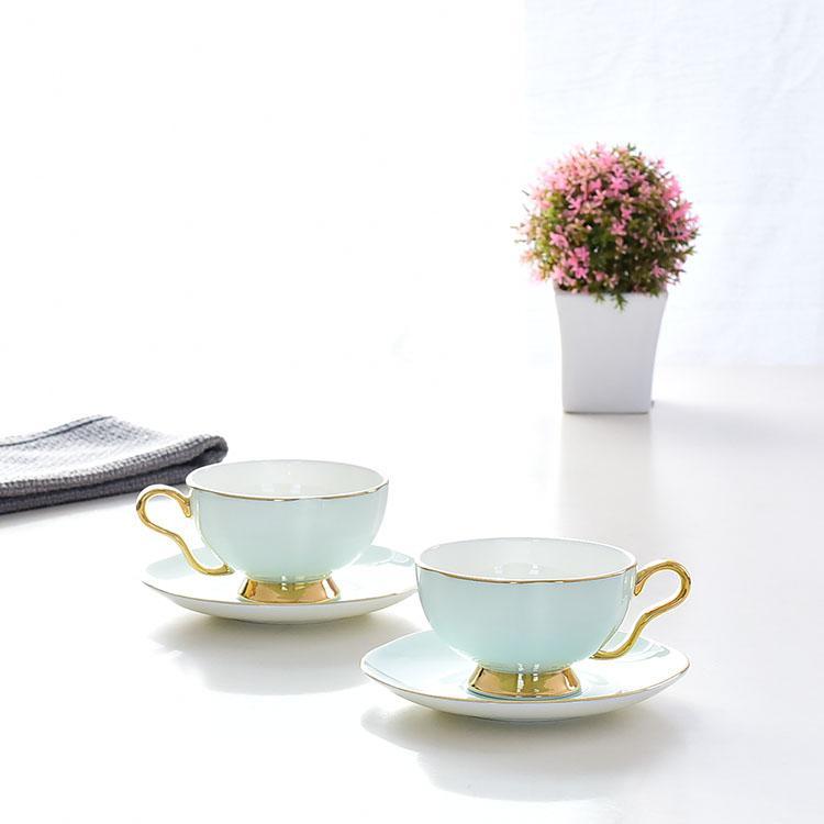 青釉骨质瓷咖啡杯碟