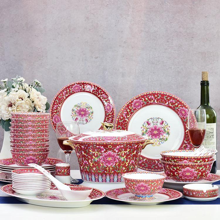 48头粉彩陶瓷餐具套装
