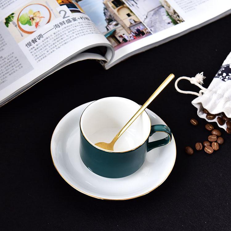 绿釉骨质瓷咖啡杯碟