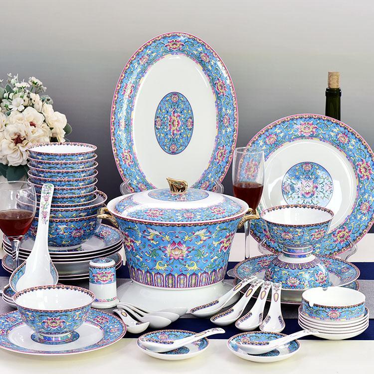 48头浅蓝彩陶瓷餐具套装