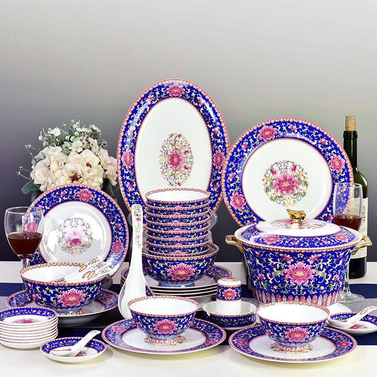 48头蓝彩陶瓷餐具套装