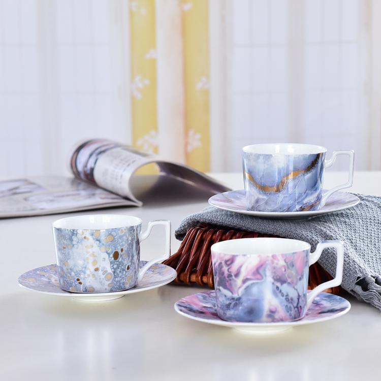 园林骨质瓷咖啡杯碟