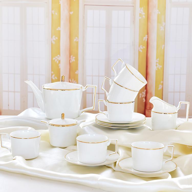 金边欧式骨质瓷咖啡杯具套装