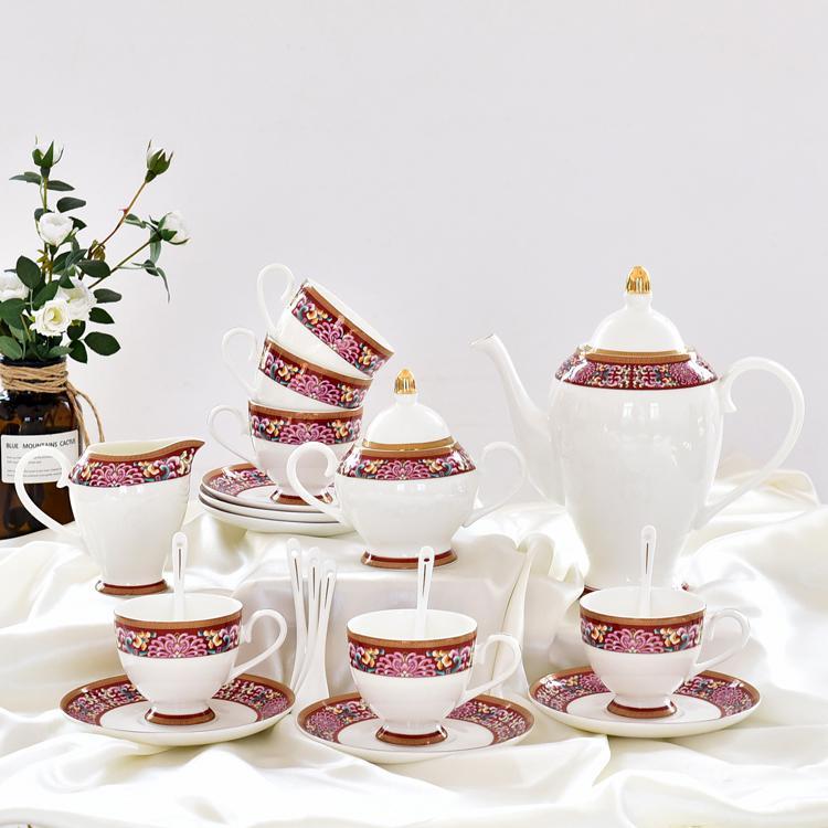 红菊骨质瓷咖啡杯具套装