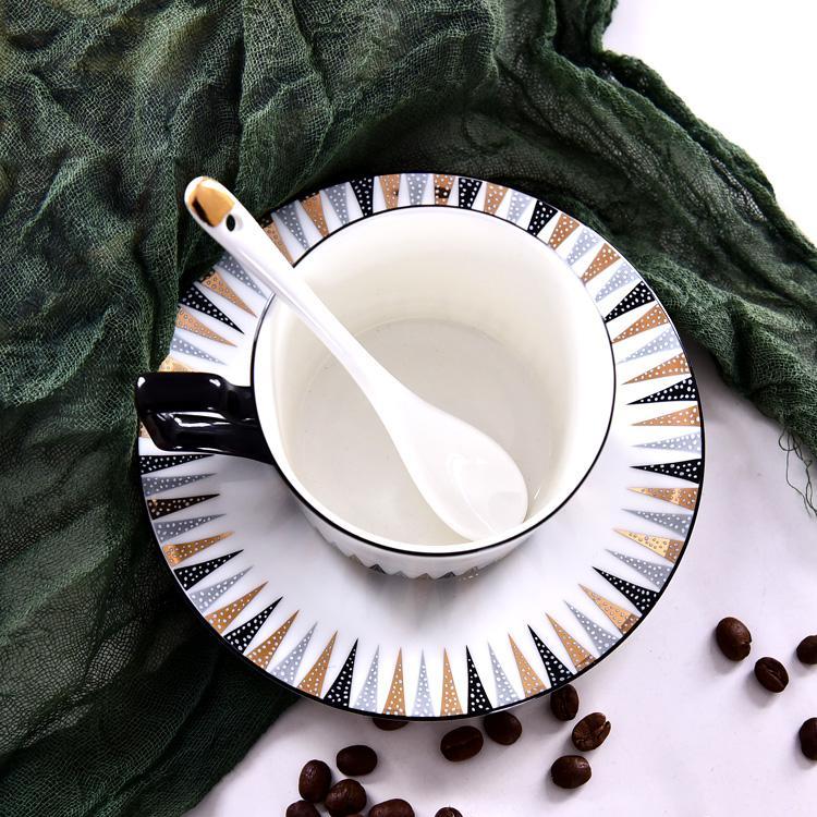 几何骨质瓷咖啡杯碟