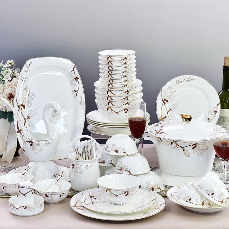 52头玉兰陶瓷餐具套装