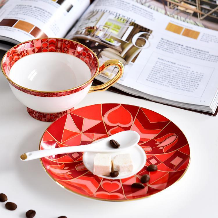 红百合骨质瓷咖啡杯碟