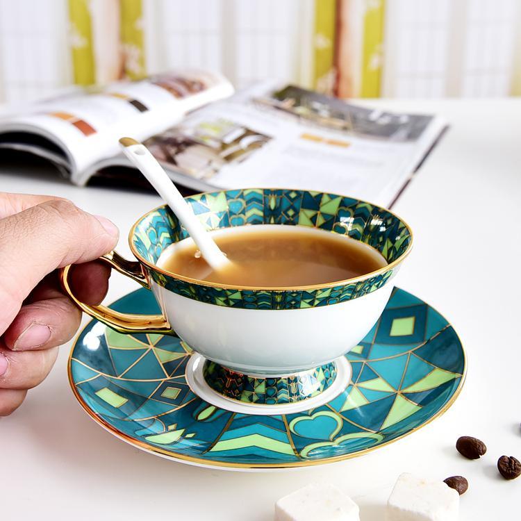 绿百合骨质瓷咖啡杯碟