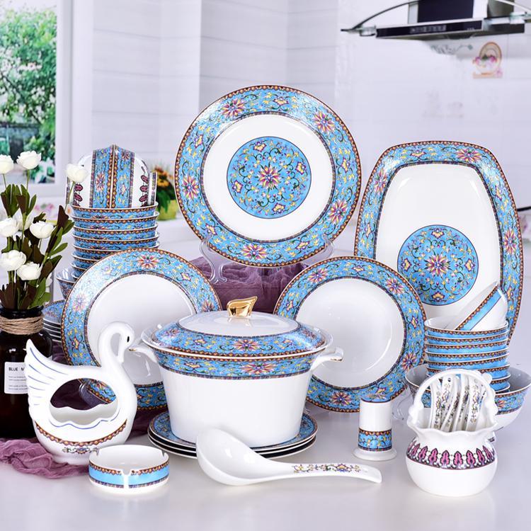 50头珐琅彩陶瓷餐具套装