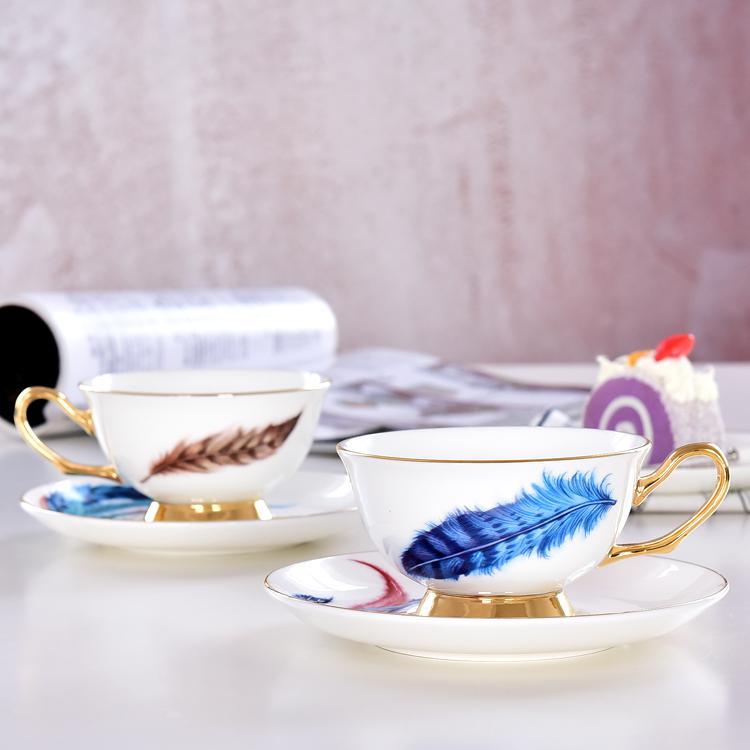 羽毛骨质瓷咖啡杯碟