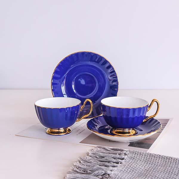 宝石蓝金柄骨质瓷咖啡杯