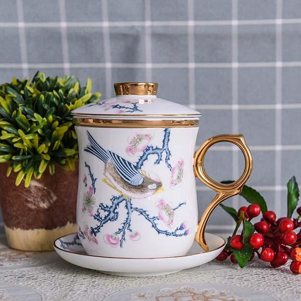 包金骨瓷茶漏杯4件套